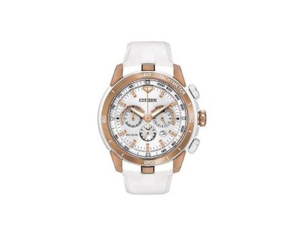 Ladies Watch - CITIZEN ECO-DRIVE CA4153-00A VICTORIA AZARENKA LIMITED EDITION ECOSPHERE Adventure to new heights with the CITIZEN® Victoria Azarenka Limited Edition Ecosphere. Fashion forward and bold, the Ecosphere stands out with a 1/5-second chronograph measuring up to 60 minutes and 12/24-hour time. This limited edition features a rose gold-tone stainless steel case with white chroma-finish, a white silicon strap and white dial. WATCH FEATURES: Movement Limited Edition, Eco-Drive B620, Functions 1/5 Secon