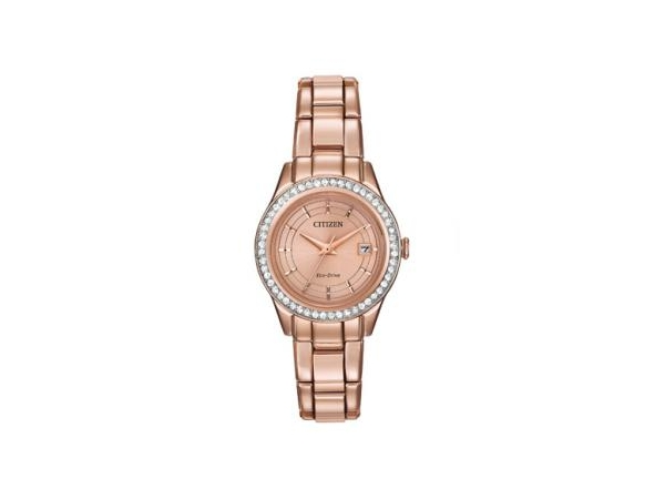 Ladies Watch - CITIZEN ECO-DRIVE FE1123-51Q SILHOUETTE CRYSTAL CITIZEN® Silhouette Crystal is fashionable, precise and creates an appeal unlike any other timepiece decorated with Swarovski® crystals. Featured with pink gold-tone stainless steel case and bracelet, rose gold-tone dial and date. WATCH FEATURES Movement Eco-Drive J710 Functions~093 Hand Band Pink Rose Gold-Tone Stainless Steel Bracelet, Fold Over Clasp with Push Button Case Size~0928mm Case Material Pink Gold-Tone Stainless Steel, Swarovski Crys