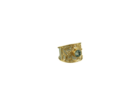Michou Wide Band Gemstone Ring - Two tone Sterling Silver / 22kt Yellow Gold Ring, w/ Swiss Blue Topaz